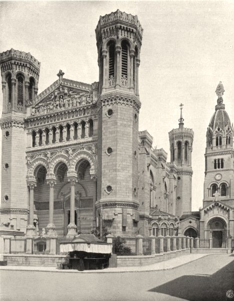 Associate Product RHÔNE. Lyon- Notre- Dame de Fourvières 1903 old antique vintage print picture
