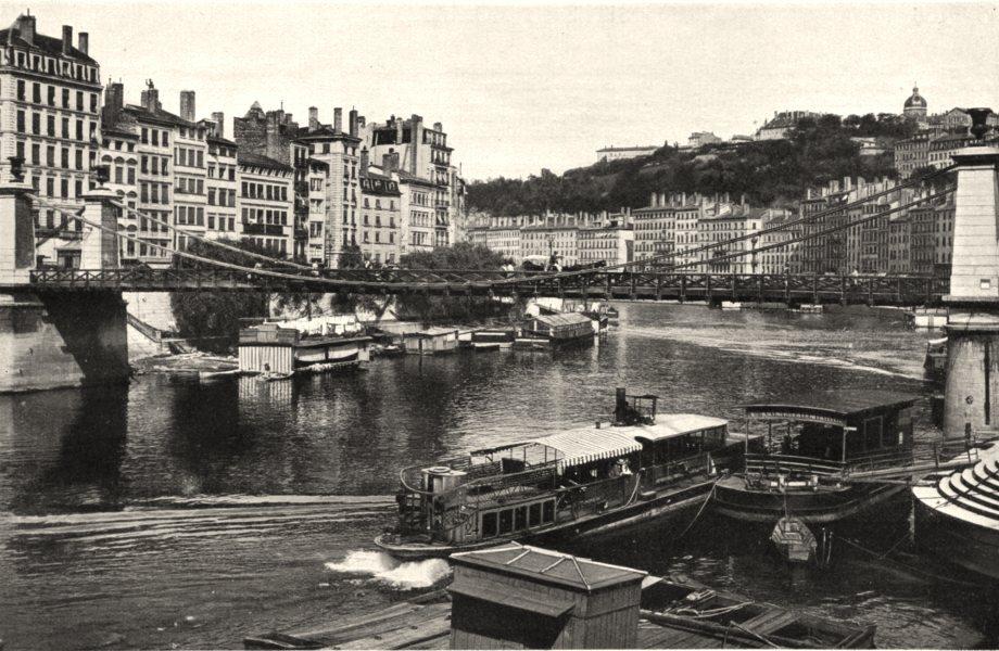 Associate Product RHÔNE. Lyon- Quais de la Saône 1903 old antique vintage print picture