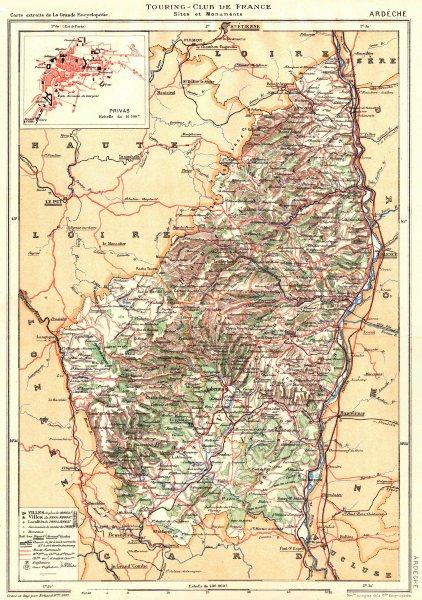 Associate Product ARDÈCHE. Département. Inset city town map plan of Privas 1903 old antique