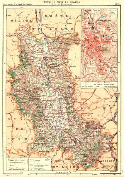 Associate Product LOIRE. Département. Inset city town map plan of St. Étiennè 1903 old