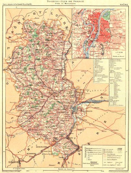 Associate Product RHÔNE. Département. Inset city town map plan of Lyon 1903 old antique
