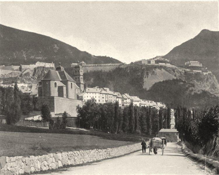Associate Product HAUTES-ALPES. Briançon vu de la route du Lautaret 1904 old antique print