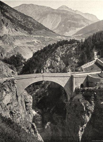Associate Product HAUTES-ALPES. Briançon- Le pont Asfeld 1904 old antique vintage print picture