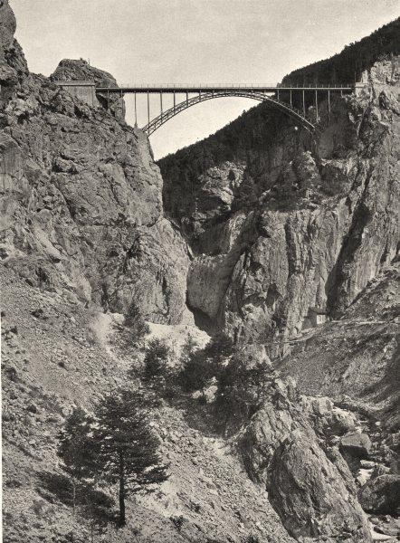 Associate Product HAUTES-ALPES. La vallée de la Cerveyrette et le pont Baldy 1904 old print