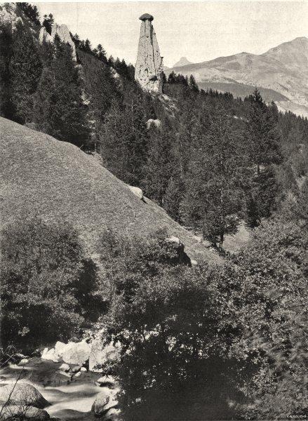 HAUTES-ALPES. Route de Molines- la Colonne Coiffée (Queyras)  1904 old print
