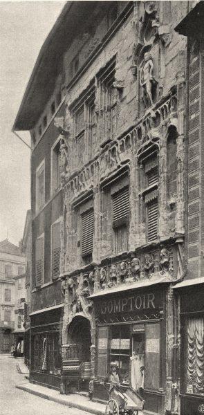Associate Product DRÔME. Valence- Maison des Têtes 1904 old antique vintage print picture
