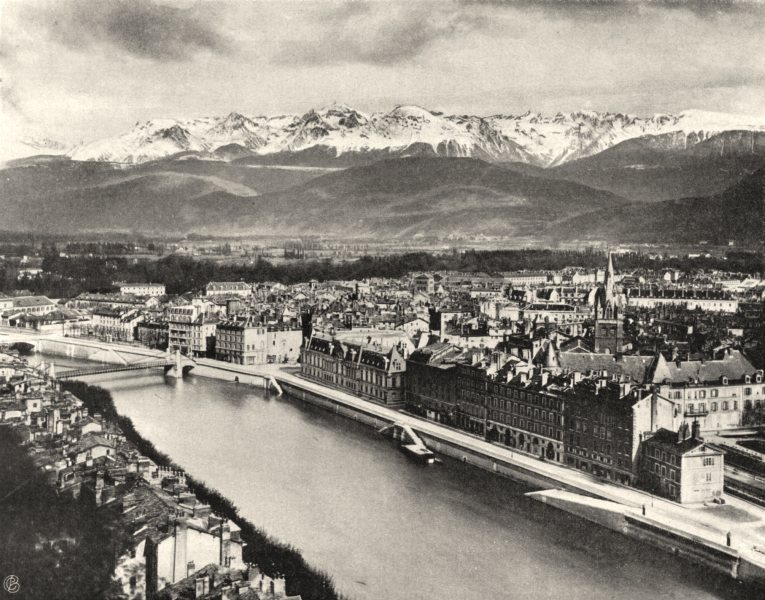 Associate Product ISÈRE. Grenoble- Vue prise du fort Rabot 1904 old antique print picture