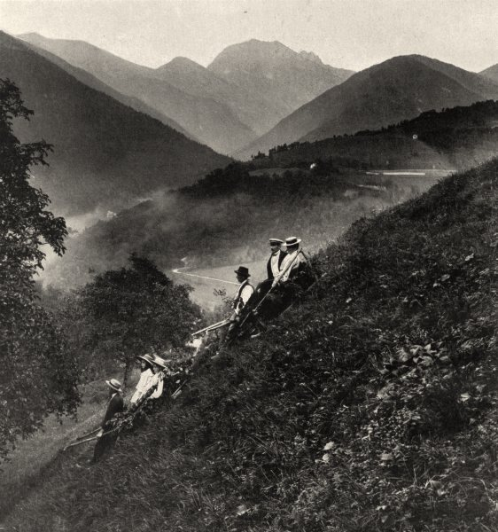 Associate Product ISÈRE. Descente en ( (ramasse) ) à Bramefarine 1904 old antique print picture
