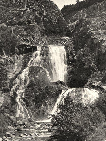 ISÈRE. Le Bourg- d'Oisans- Cascade de Sarrène 1904 old antique print picture