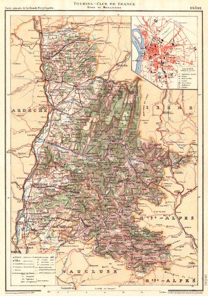 DRÔME. Département. Inset city town map plan of Valence 1904 old antique