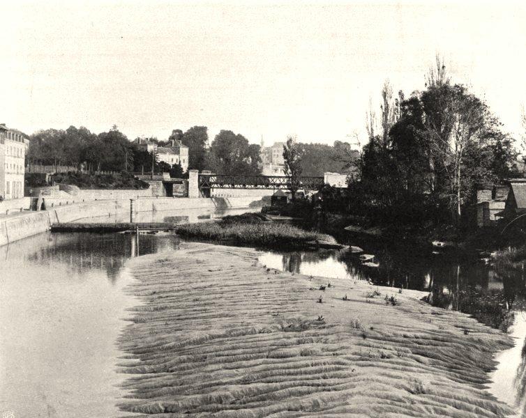 Associate Product ILLE-ET-VILAINE. Redon. la Vilaine à marée basse 1902 old antique print