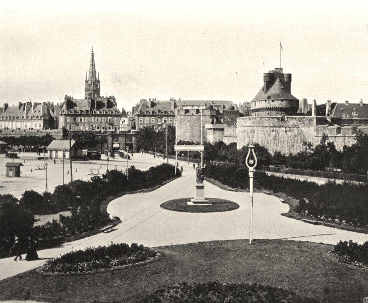Associate Product ILLE-ET-VILAINE. Vue de Saint-Malo prise du casino 1902 old antique print
