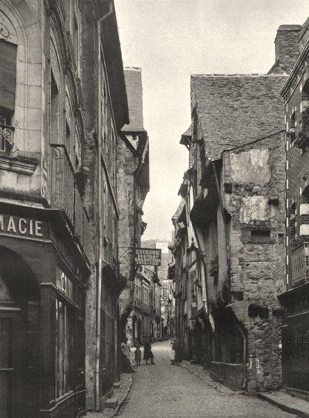 Associate Product ILLE-ET-VILAINE. Maisons rue Baudrairie, à Vitré 1902 old antique print