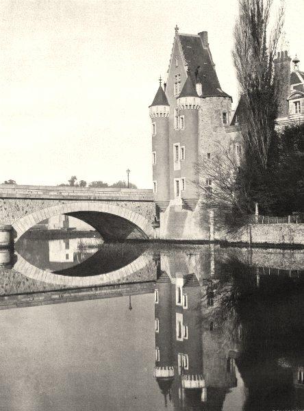 Associate Product SARTHE. Le vieux château, à la Flèche 1902 old antique vintage print picture