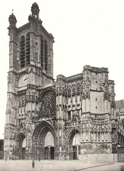 Associate Product AUBE. Troyes- Cathédrale 1906 old antique vintage print picture