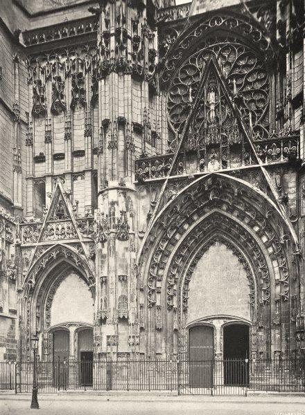 Associate Product AUBE. Troyes- Portail de la cathédrale 1906 old antique vintage print picture