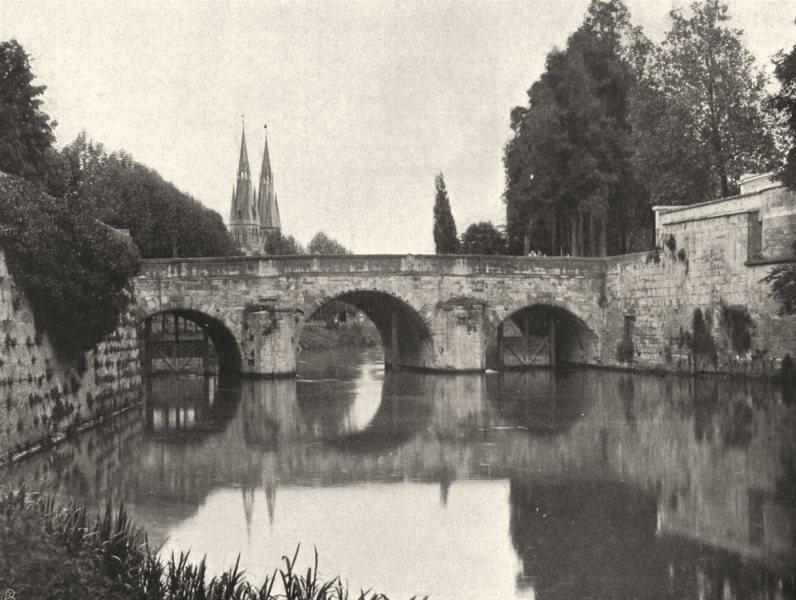 Associate Product MARNE. Châlons-sur-Marne- Pont des Mariniers 1906 old antique print picture