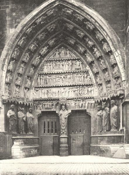 MARNE. Reims- Cathédrale, portail nord 1906 old antique vintage print picture