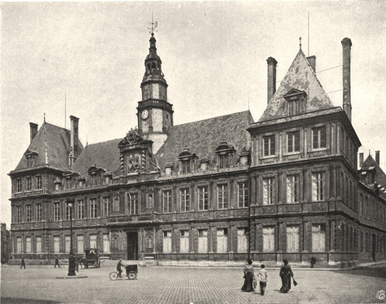 Associate Product MARNE. Reims- Hôtel de ville 1906 old antique vintage print picture