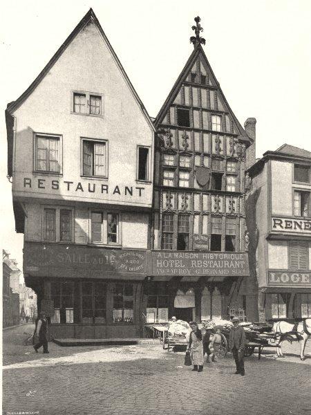 Associate Product MARNE. Reims- Vieilles maisons place des Marchés 1906 old antique print