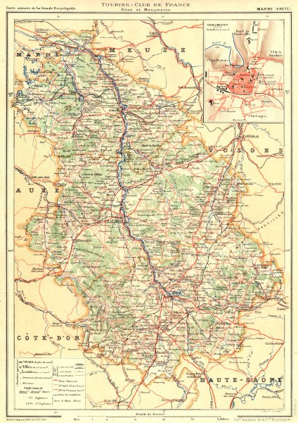 Associate Product HAUTE-MARNE. Département. Inset city town map plan of Chaumont 1906 old
