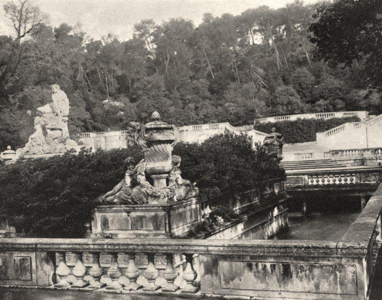 Associate Product GARD. La Fontaine, à Nîmes 1902 old antique vintage print picture