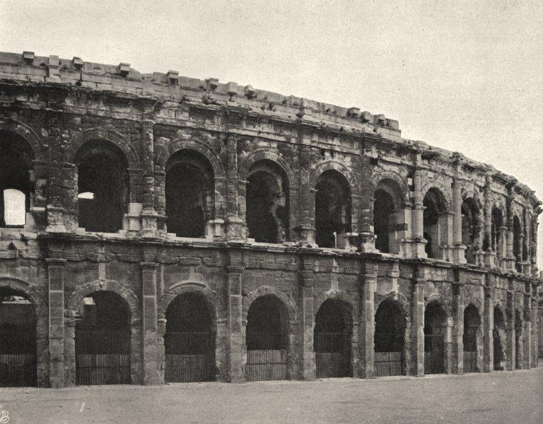 Associate Product GARD. Extérieur des arènes de Nîmes 1902 old antique vintage print picture