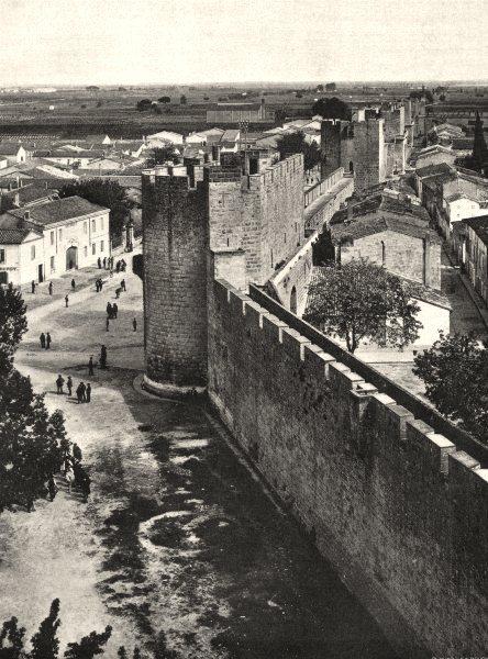 Associate Product GARD. Aiguesmortes, vue prise de la tour de Constance 1902 old antique print