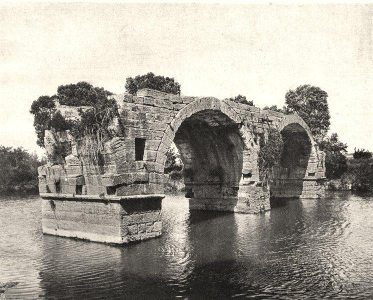 Associate Product HÉRAULT. Pont romain sur le Vidourle, à Lunel 1902 old antique print picture