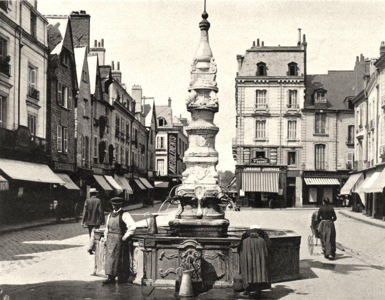INDRE-ET-LOIRE. Fontaine de Beaune, à Tours 1903 old antique print picture