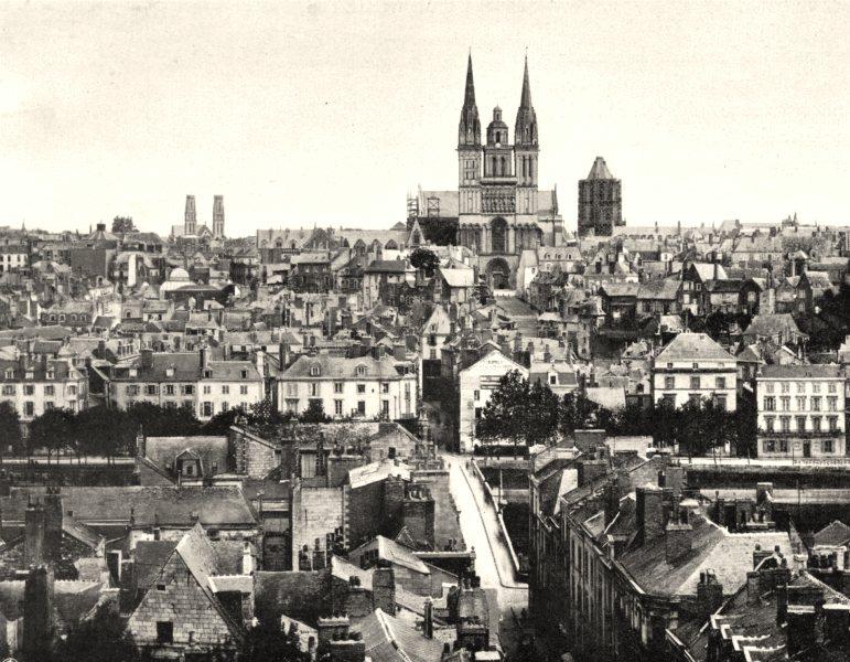 Associate Product MAINE-ET-LOIRE. Vue générale d'Angers 1903 old antique vintage print picture