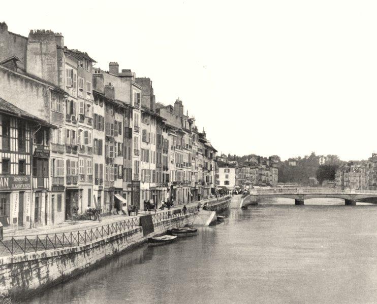 Associate Product PYRÉNÉES-ATLANTIQUES. Bayonne- Quais de la Nive 1903 old print picture