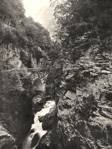 Associate Product PYRÉNÉES-ATLANTIQUES. Laruns- Pont du Hourat 1903 old print picture