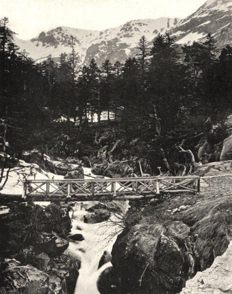 Associate Product HAUTES-PYRÉNÉES. Pont d'Espagne- Ruisseau de Marcadau 1903 old antique print