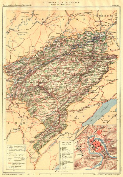 Associate Product DOUBS. Département. Doubs. Département. Inset map Besançon 1905 old