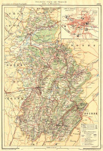 Associate Product JURA. Département. Jura. Département. Inset town plan Lons-le-Saunier 1905 map