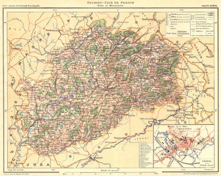 Associate Product HAUTE-SAÔNE. Département. Inset city town map plan of Vesoul 1905 old