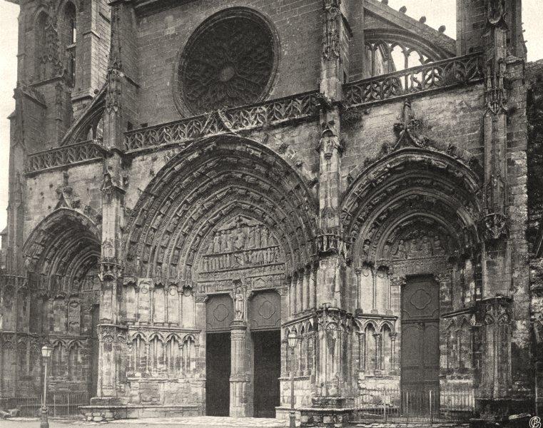 Associate Product GIRONDE. Bazas- Porte de I'église 1904 old antique vintage print picture