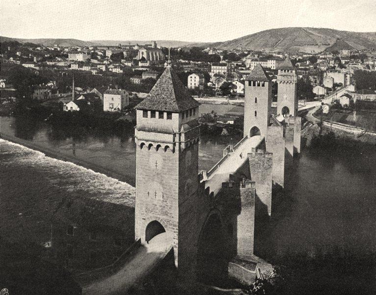 Associate Product LOT. Cahors- Pont Valentré 1904 old antique vintage print picture
