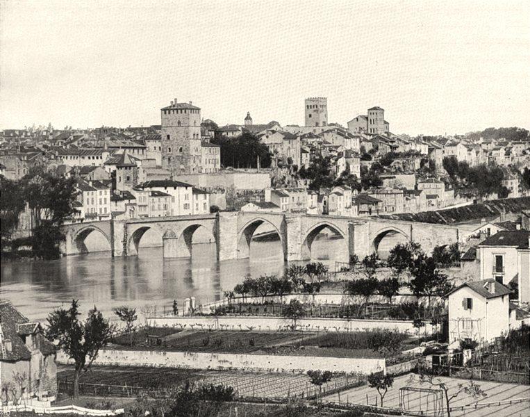 LOT. Cahors- Vue générale 1904 old antique vintage print picture