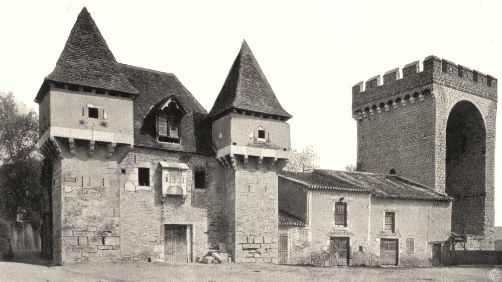 Associate Product LOT. Cahors- La Barbacane et la tour de la Barre. SMALL. 1904 old print