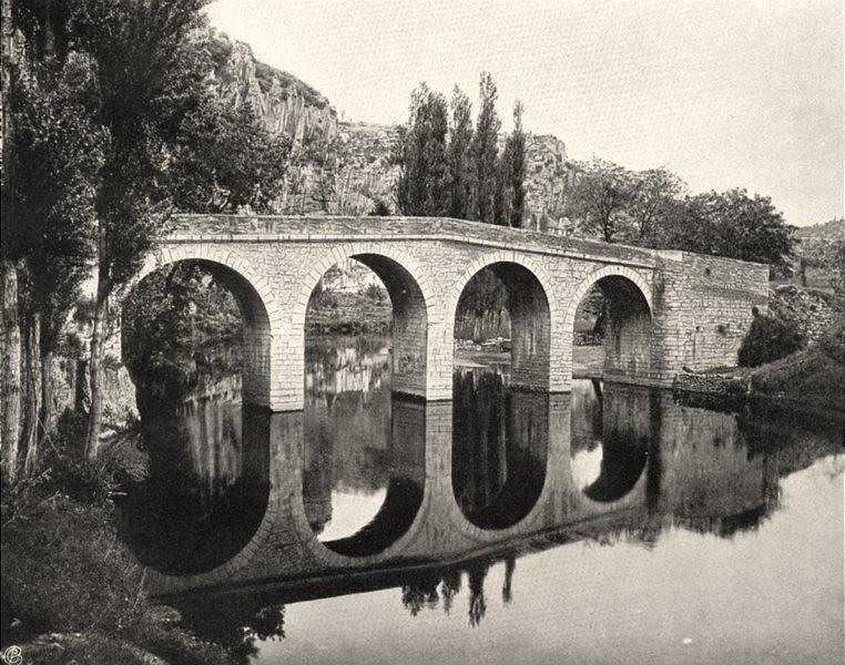 Associate Product LOT. Cabrerets- Le pont 1904 old antique vintage print picture