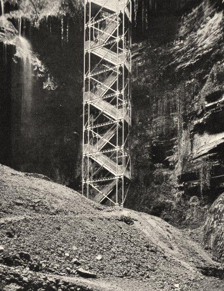 Associate Product LOT. Padirac- Escalier 1904 old antique vintage print picture