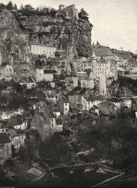 Associate Product LOT. Rocamadour- Le village 1904 old antique vintage print picture