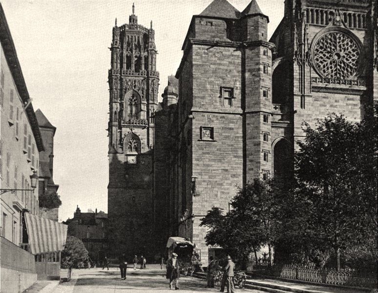 Associate Product AVEYRON. Rodez- Cathédrale. la tour 1903 old antique vintage print picture