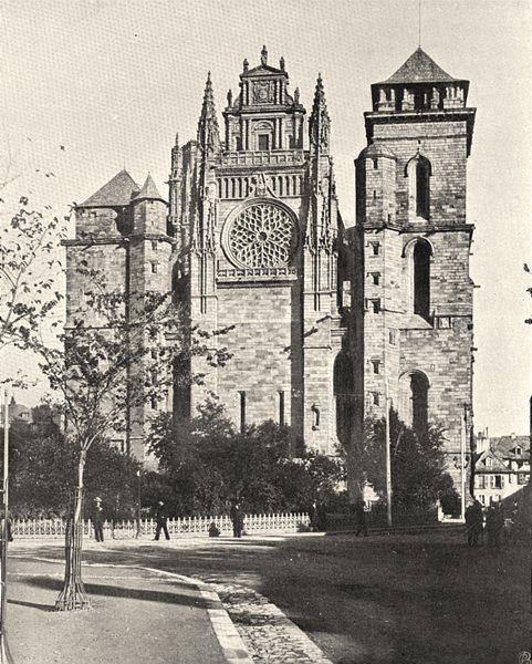 Associate Product AVEYRON. Rodez- Cathédrale 1903 old antique vintage print picture