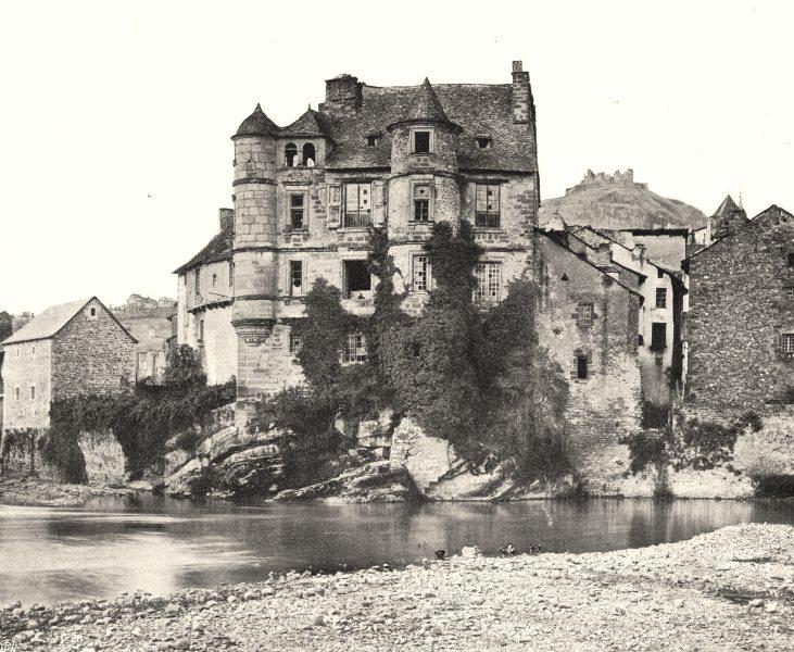 Associate Product AVEYRON. Espalion- Le vieux chàteau 1903 old antique vintage print picture