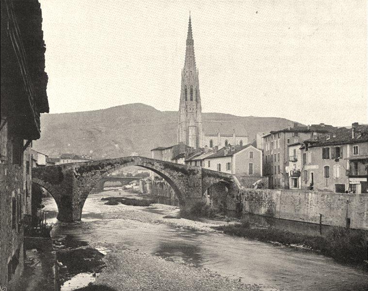 Associate Product AVEYRON. Saint-Affrique- Vieux pont 1903 old antique vintage print picture