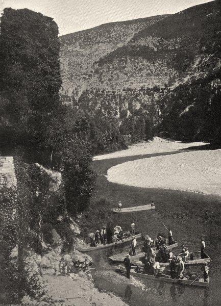 Associate Product LOZÈRE. Touristes descendant le Tarn 1903 old antique vintage print picture