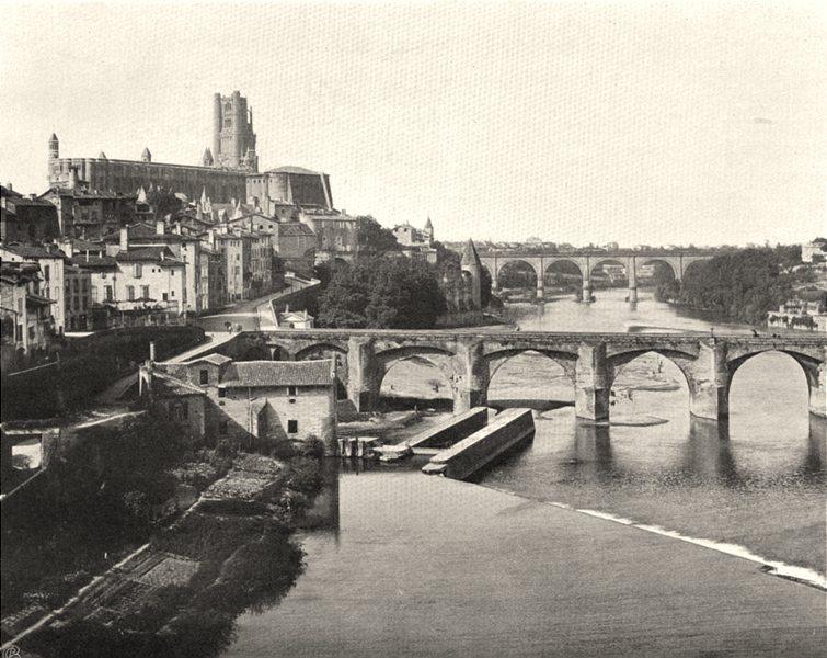 Associate Product TARN. Albi- Vue générale prise du pont neuf 1903 old antique print picture